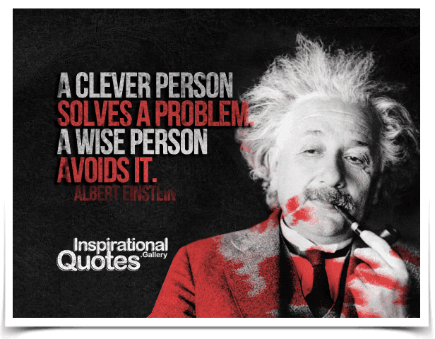 A clever person solves a problem. A wise person avoids it. Quote by Albert Einstein.